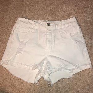 Hollister white jean shorts